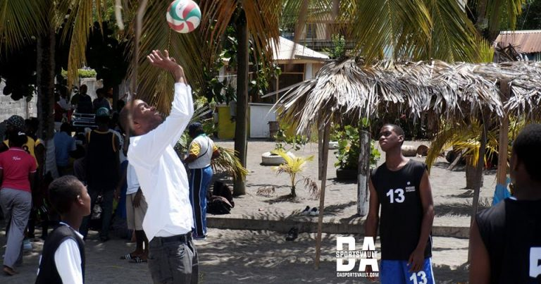 Hon. Kelver Daroux in Volleyball Action